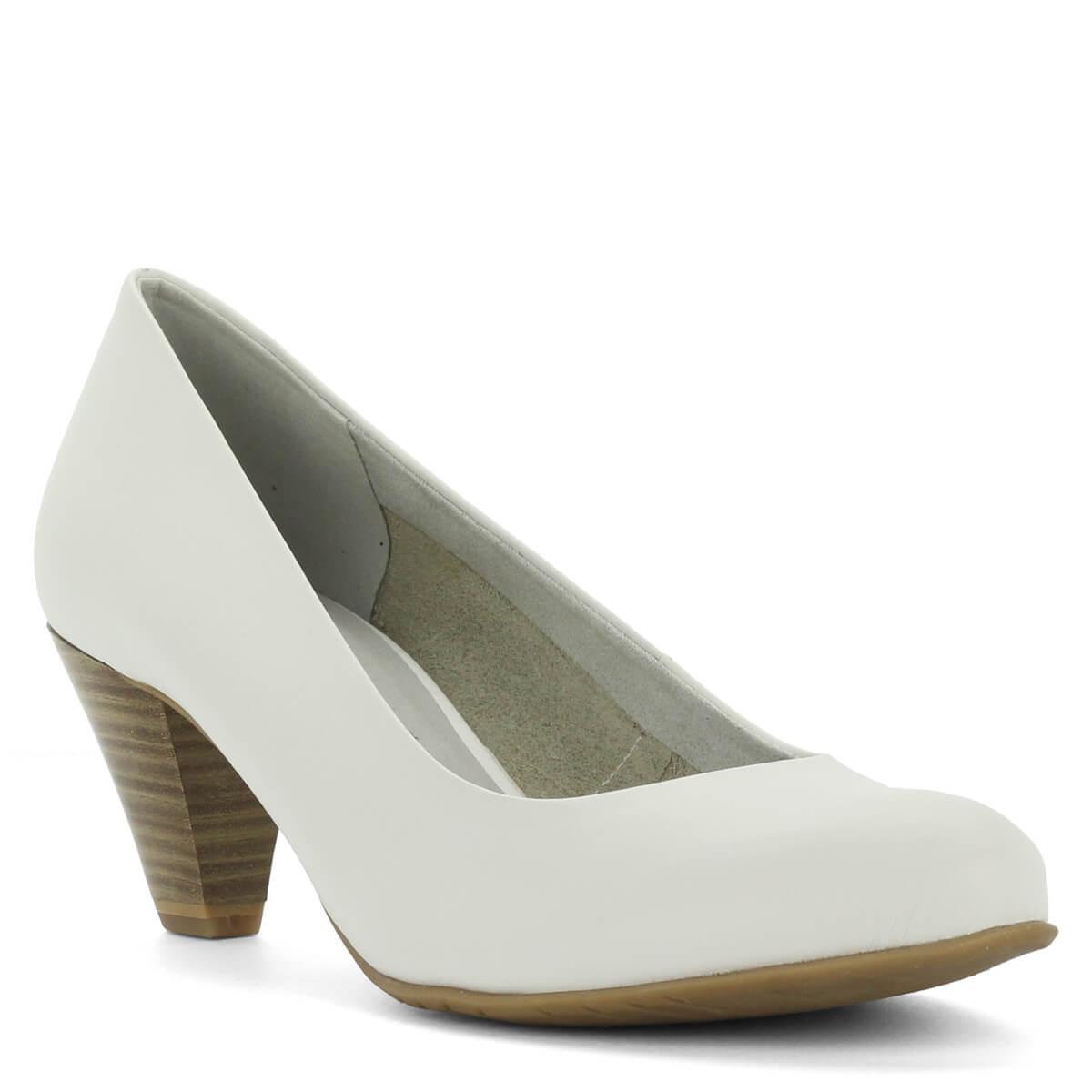 ... Fehér Tamaris cipő közepes sarokkal. Belsejében Touch It talpbélés  fokozza a kényelmet 93fe5fa043