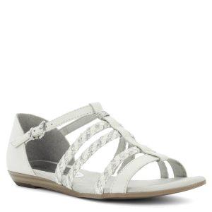 Tamaris szandál fehér-ezüst színben. Hátul zárt, vékony pántjain a fehér szín ezüsttel kombinált. Puha talpbéléssel, 1 cm-es sarokemeléssel.