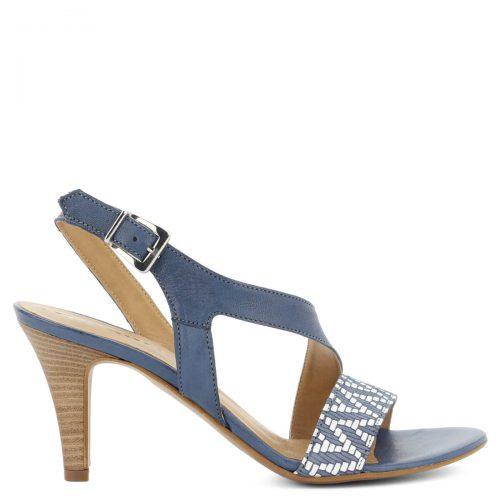 Magas sarkú kék Tamaris szandál. Nagyon csinos és kényelmes bőr szandál, pántja igazán kecsessé teszi a lábat. Sarka 8 cm magas.