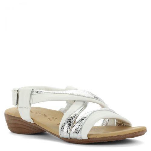 Fehér-Ezüst Tamaris szandál alacsony sarokkal. Kényelmes, hajlékony gumi talppal és puha talpbéléssel készült. Sarka 3 cm magas, pántja tépőzáras.