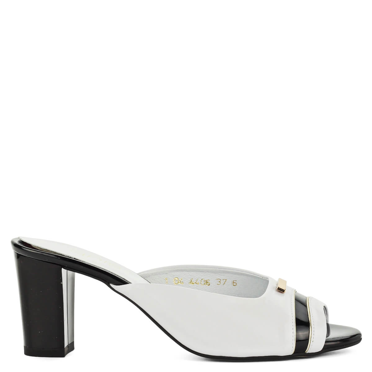 cipő eladása új lista lábánál Anis fekete-fehér bőr papucs 7 centis sarokkal, kívül-belül puha ...