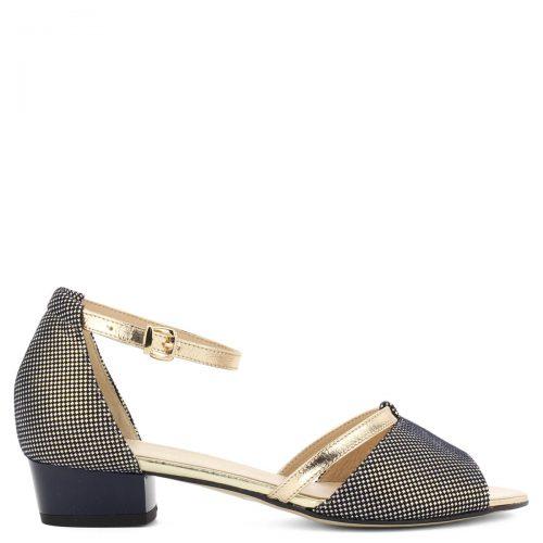 Kis sarkú bokapántos kék-arany Anis szandál 3 cm magas sarokkal. Széles első pántja megfelelően takarja a lábat. Pántja csattal állítható.