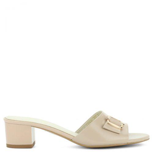 Bézs színű Anis bőr papucs 4,5 cm magasságú sarokkal, kívül-belül természetes bőrből. Elegáns utcai papucs. ChiX Női Cipő Webáruház
