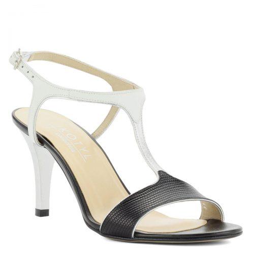 Fekete-fehér magas sarkú Kotyl szandál valódi bőrből, bőr béléssel. A szandál elegáns, 8 cm magas sarokkal készült, pántja csattal állítható.