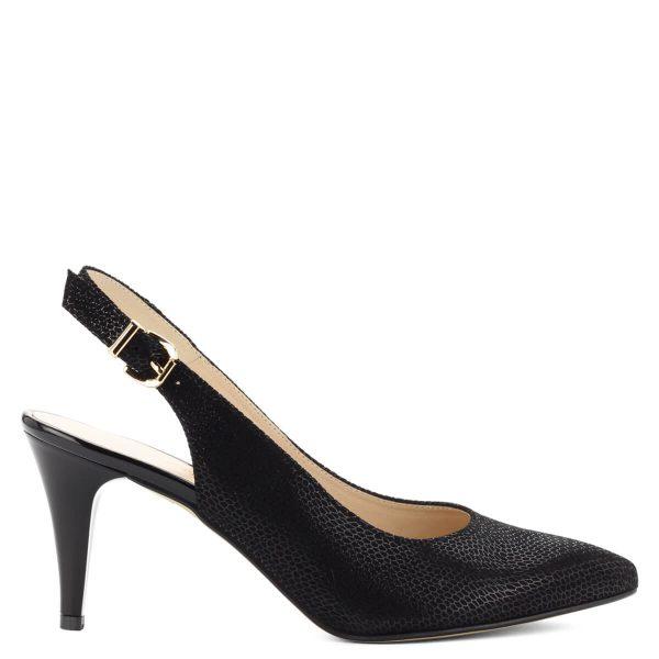 Fekete bőr Anis szandálcipő csattal állítható sarokpánttal, 8 cm magas sarokkal. A szandálcipő bélése is természetes bőr, nagyon kényelmes, nőies fazon.