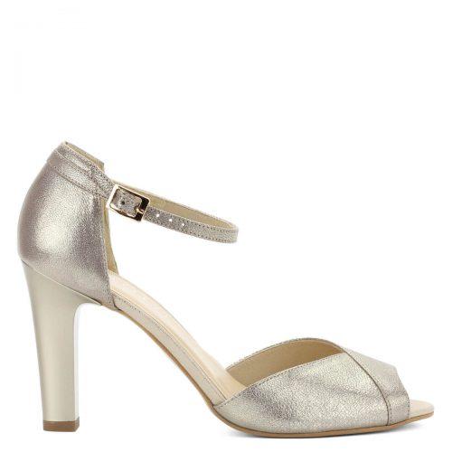 Arany Kotyl magas sarkú női szandál. A szandál 9 cm magas sarokkal készült, bokapántja jól fogja a lábat, anyaga kívül-belül bőr.