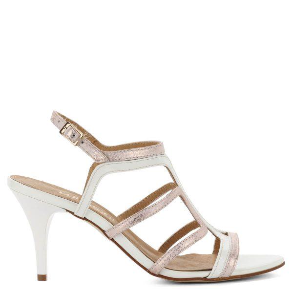 Rózsaszín-fehér magas sarkú Lukasz szandál 8 cm magas sarokkal. Bőrből készült, pántjai stabilan tartják a lábat. ChiX Női Cipő Webáruház