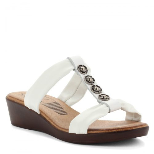 SPK telitalpú bőr papucs fehér színben, 4 cm magas sarokkal, puha bőr béléssel és bőr felsőrésszel. - ChiX Női Cipő Webáruház