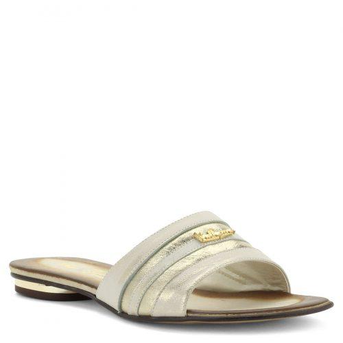 Via Roma arany bőr papucs. 1,5 cm magas sarokkal készült bőr papucs koptatott hatású arany színben. A papucs bélése és felsőrésze is bőr.