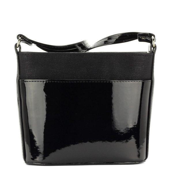 Fekete Prestige alkalmi táska osztatlan belső térrel. Belsejében cipzáros zseb és telefonzseb kapott helyet. - ChiX Női Cipő- és Táska Webáruház
