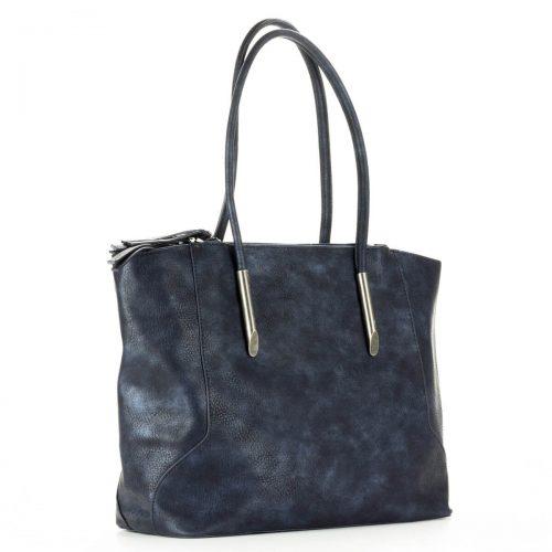 Diana & Co nagy méretű kék női táska egybefüggő nagy belső térrel. Három külön részre osztott, mindhárom cipzárral zárható. Kézben és vállon is hordható.
