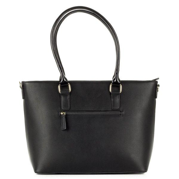 Fekete Pabia táska nyomott mintával, nagy belső térrel. A táska füle lakk, hosszú vállpánt tartozik hozzá. - ChiX Női Cipő és Táska Webáruház