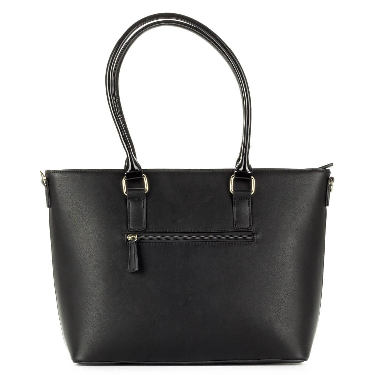 7f4a6ff053 ... Fekete Pabia táska nyomott mintával, nagy belső térrel. A táska füle  lakk, hosszú