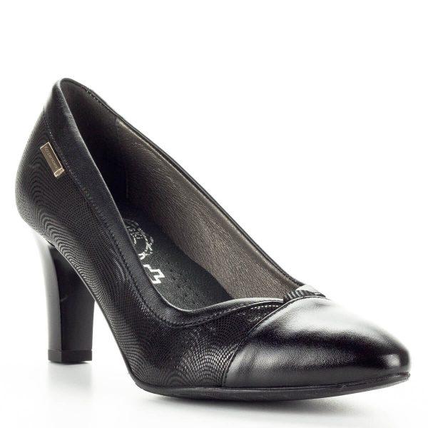 Korzeniowski fekete bőr női cipő, mely kétféle bőr kombinálásával készült. Puha bőr talpbélésének köszönhetően nagyon kényelmes cipő. Sarokmagassága 7 cm.
