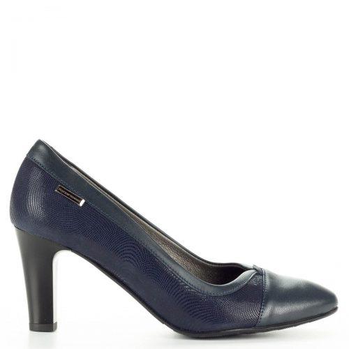 Korzeniowski kék női bőr cipő kétféle bőr kombinálásával készült. Talpbélése puha bőr egész napra kényelmes viselet. Sarka 7 cm magas.