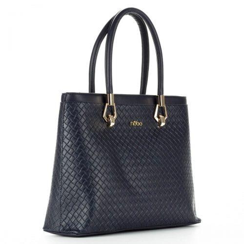 Nobo női táska kék színben, arany fém részekkel, egybefüggő belső térrel. Vállpánt tartozékként jár a táskához. ChiX Női Cipő- és Táska Webáruház