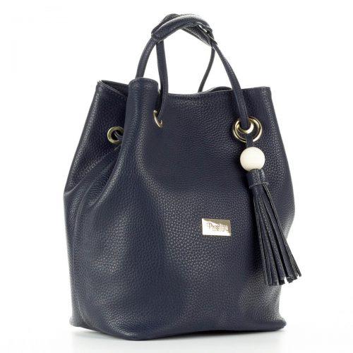Prestige kék női táska osztatlan belső térrel, belsejében telefon tartó zsebbel és egy kis cipzáros zsebbel. Hosszú vállpánt tartozik a táskához.