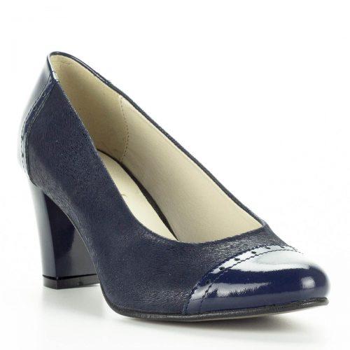 Verdi kék női bőr cipő. Magassarkú női cipő kényelmes, 6 cm magas sarokkal. Sarka anyagában fényes, nem bevont. Puha párnázott talpbéléssel készült.