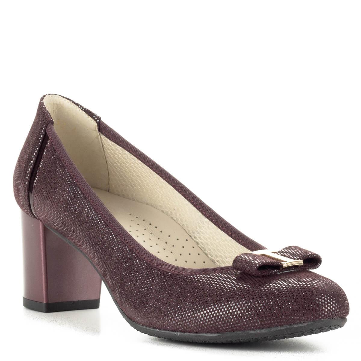 Sarka 6 cm magas  Anis bordó mintás magassarkú cipő bőr felsőrésszel 6fde24e5e7