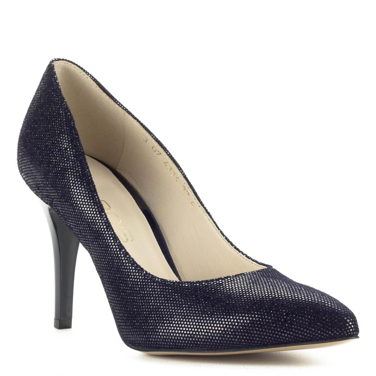 3f77129de0 Bőrét apró ezüst minta; Anis kék-ezüst magassarkú női cipő 9 cm magasságú  sarokkal. Bőrét apró ezüst minta ...