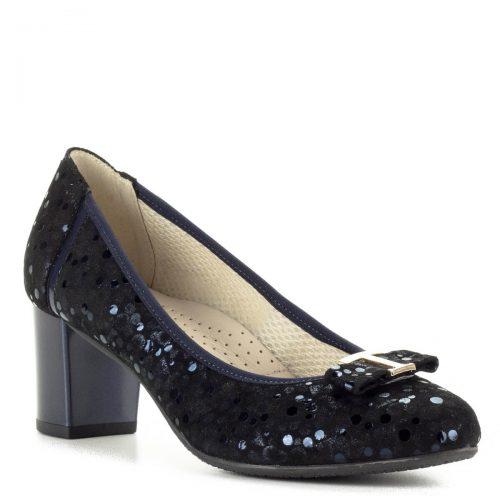 Anis kék magassarkú cipő mintás bőr felsőrésszel, orrán masni dísszel. Sarka 6 cm magas, puha komfortos bőr talpbéléssel készült.