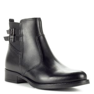Ellen Blake fekete bőr bokacsizma vastag talppal, 3 cm magas sarokkal. A boka külső oldalán két kis csak dísz található, belül cipzáros. Bélése textil.