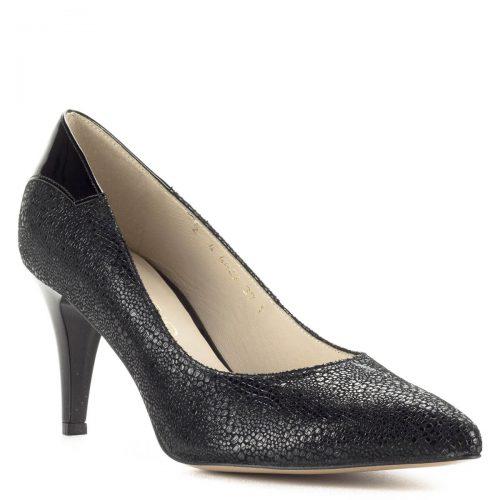 Fekete Anis magassarkú mintás bőrből. Sarka 7,5 cm magas, felsőrésze és bélése egyaránt természetes bőrből készült. Sarkánál lakkal kombinált.