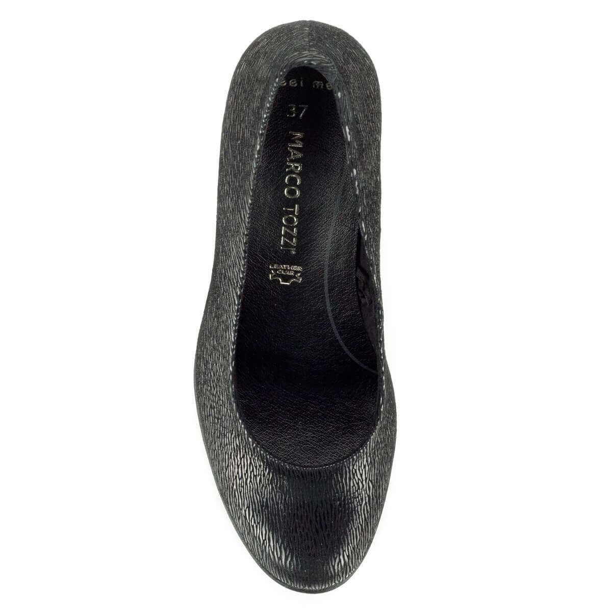 59e225ac46 ... Magas sarkú Marco Tozzi cipő vastag recés gumi talppal, 7,5 cm magas  AntiShokk ...
