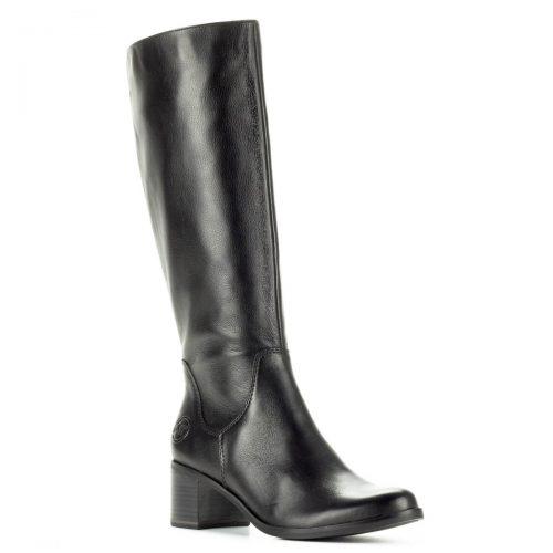 Marco Tozzi fekete kis sarkú bőr csizma 5,5 cm magas AntiShokk sarokkal. Vastag talppal és puha plüss béléssel készült. Szárhossz: 35 cm.