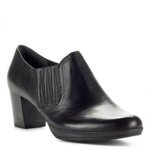 Marco Tozzi zárt magassarkú cipő 5,5 cm magas AntiShokk sarokkal, vastag platformos talppal. Felsőrésze bőr, talpbélése puha memóriahabos bélés.