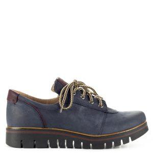 Vastag talpú Pollonus fűzős cipő kék színben. A cipő kívül-belül bőrből készült, a talp a vastagsága ellenére hajlékony, nagyon kényelmes.