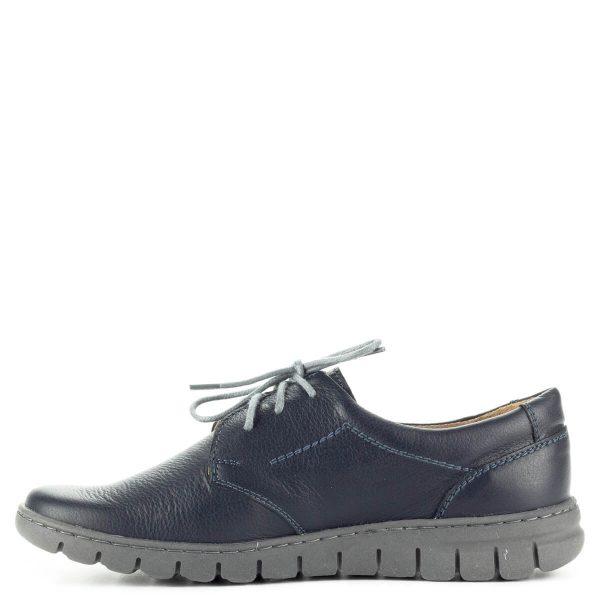 Pollonus kék komfort fűzős cipő puha talpbetéttel. A cipő kívül-belül bőrből készült, talpa hajlékony gumi talp. Nagyon kényelmes cipő.
