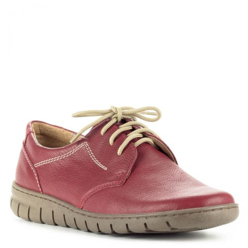 Pollonus fűzős komfort cipő puha talpbéléssel. Felsőrésze és bélése egyaránt bőrből készült, talpa hajlékony gumi. Orra kerek, egész nap kényelmes viselet.