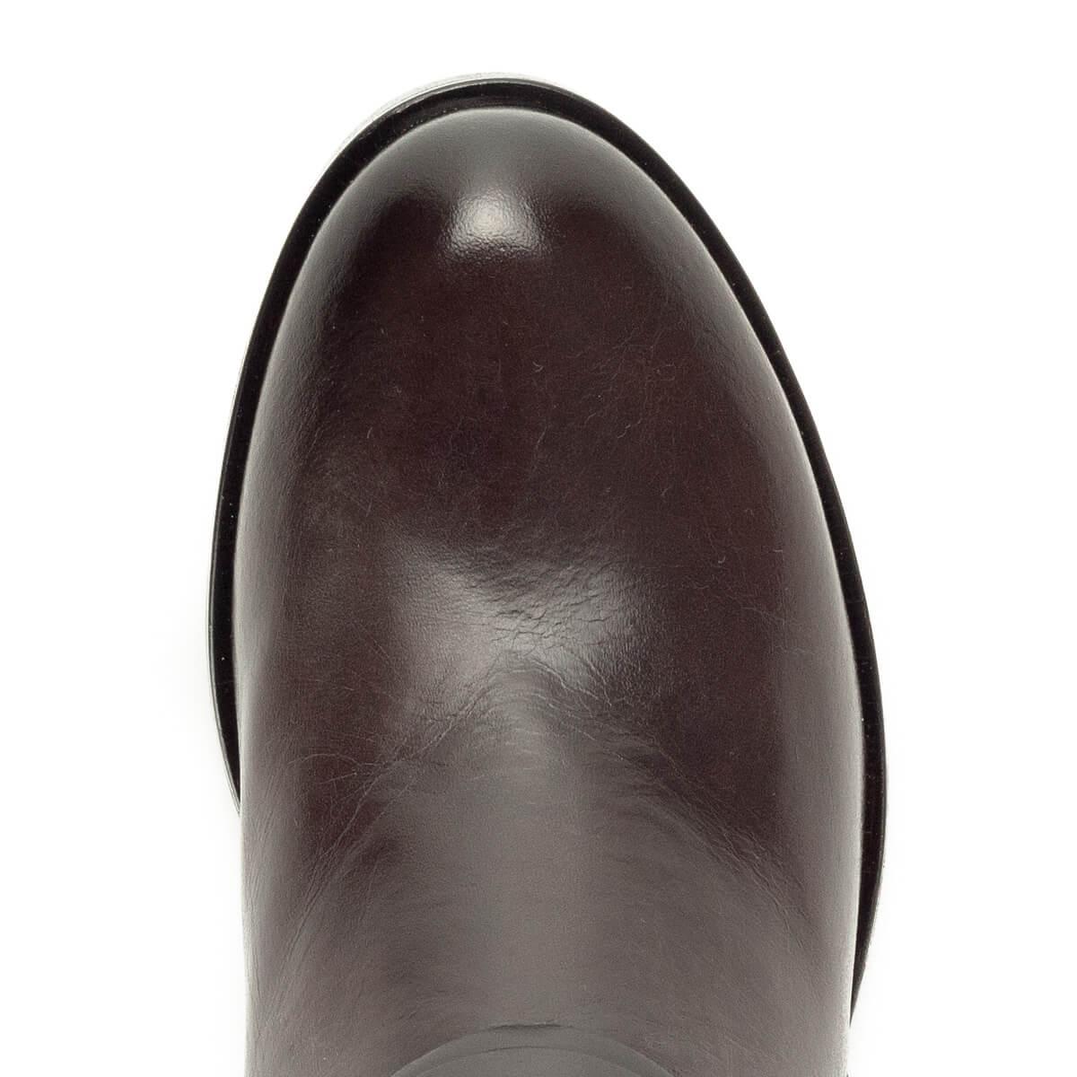 35a4280da0 Gyönyörű; Sötétbarna Tamaris bőr csizma vastag talppal, kb 3,5 cm magas  sarokkal.
