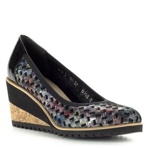 Telitalpú színes Bioeco cipő, parafa mintás talppal. A cipő kívül-belül bőrből készült, sarokmagassága 7 cm. Puha talpbéléssel készült.