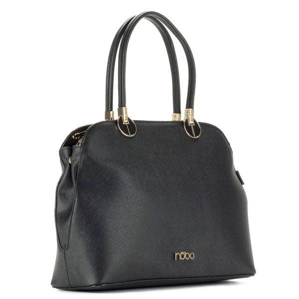 Elegáns fekete Nobo táska - Osztás nélküli belsővel, arany cipzárral és arany díszekkel készült elegáns Nobo táska. Női táska webáruház