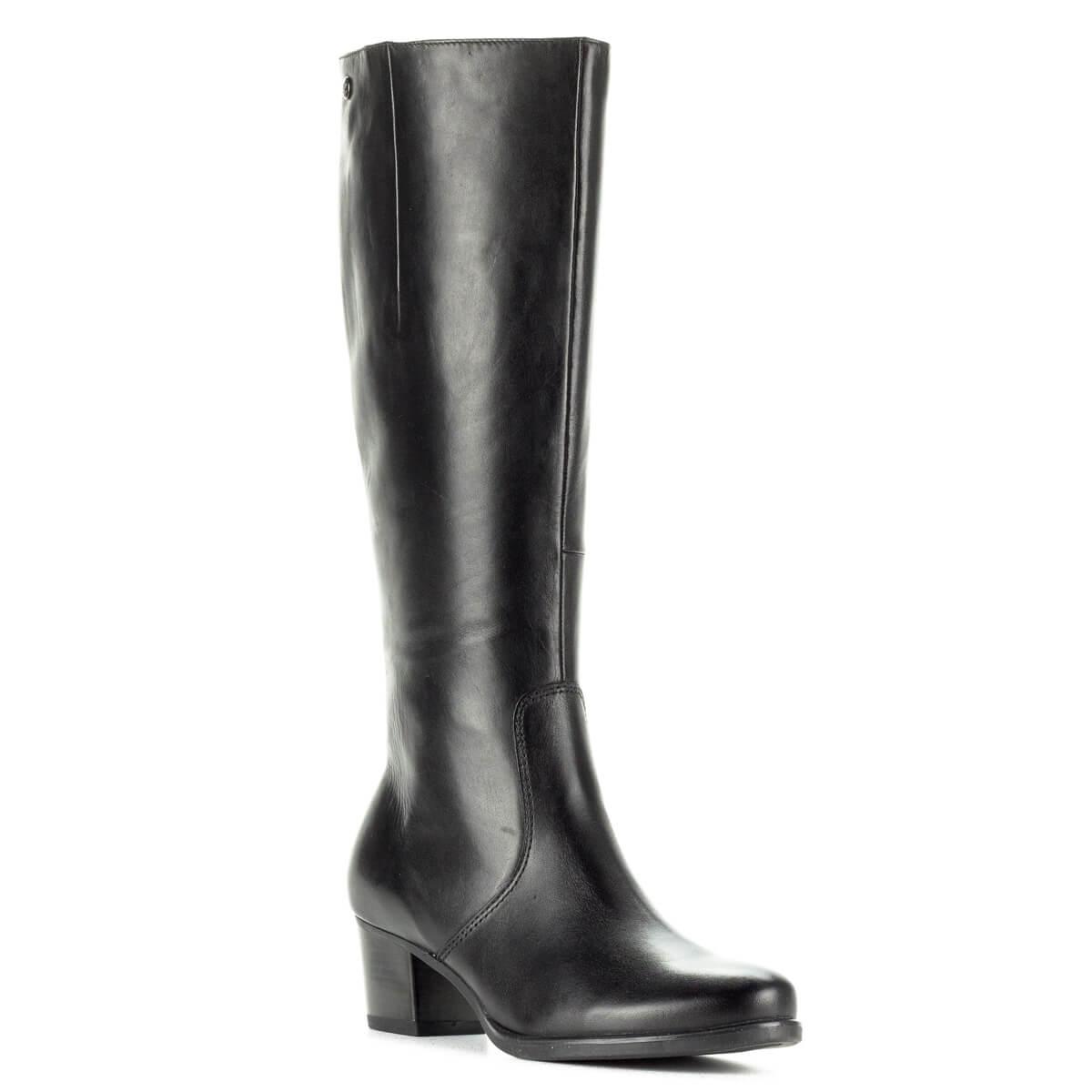Fekete Caprice csizma 5 cm-es sarokkal, bőr felsőrésszel, plüss béléssel. Klasszikus fazonú Caprice csizma díszítés nélkül, vastag gumi talppal.