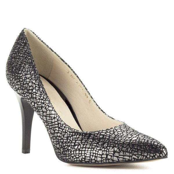 Fekete-ezüst Anis cipő 9 cm-es sarokkal, hegyes orral.A körömcipő bőr béléssel készült, magas sarka ellenére kényelmes cipő.