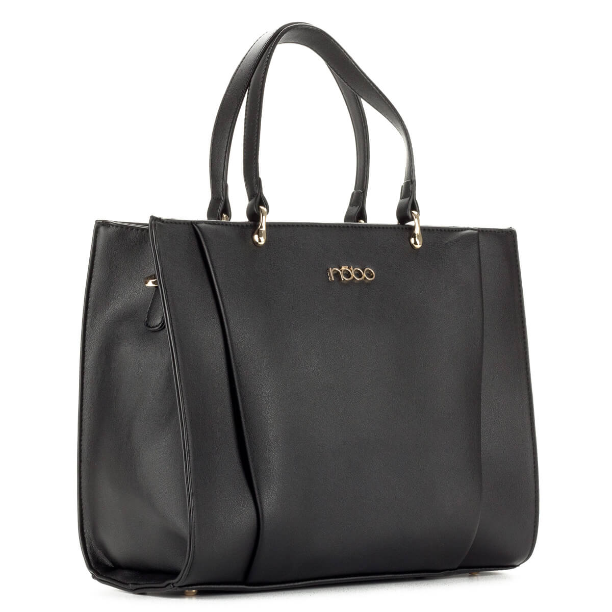 Fekete Nobo táska egybefüggő belső térrel, tartozék vállpánttal. Fém részei arany színűek
