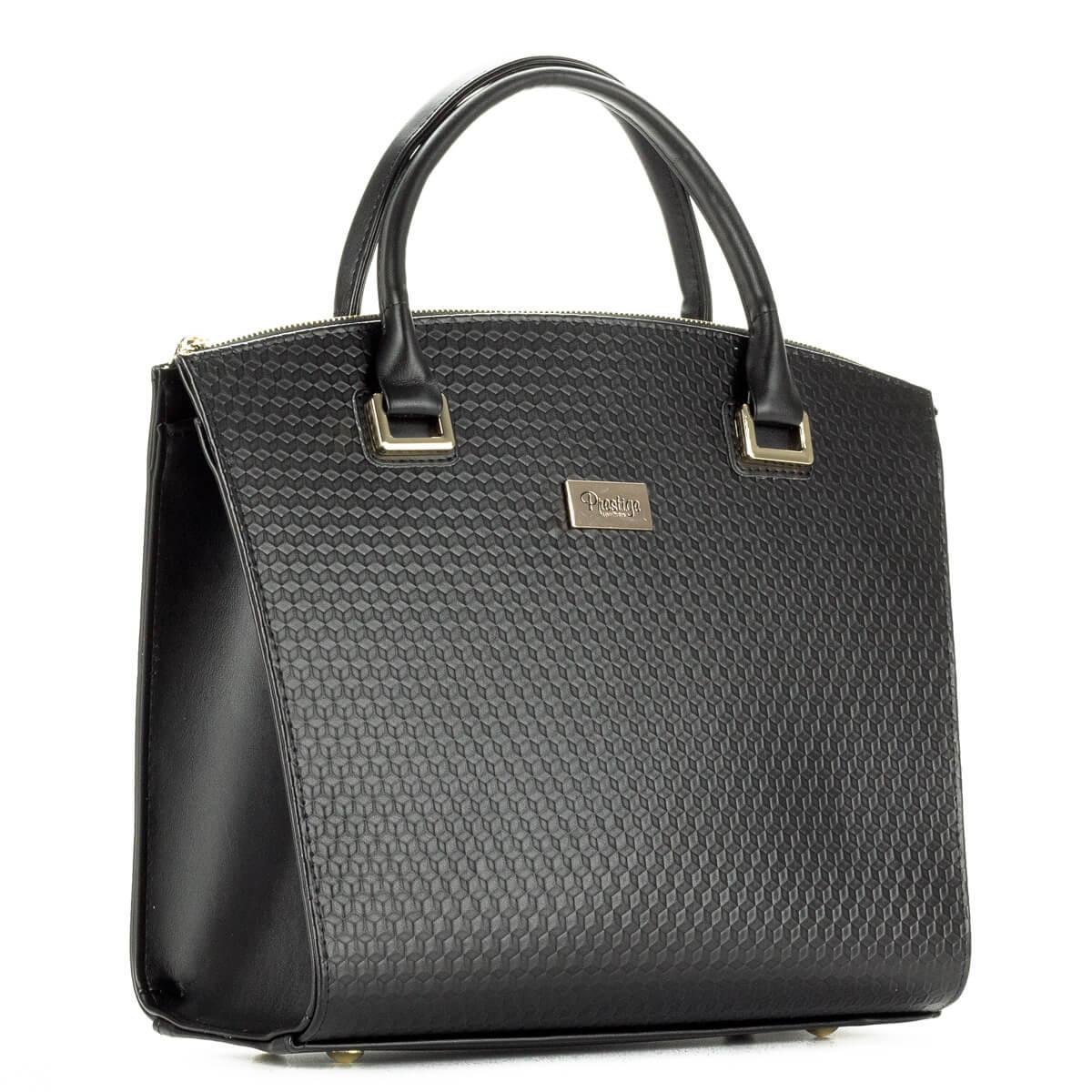 Fekete Prestige kézitáska egybefüggő nagy belső térrel, cipzáros és telefonzsebbel. Elején apró sorminta található, díszei és a cipzárak arany színűek.