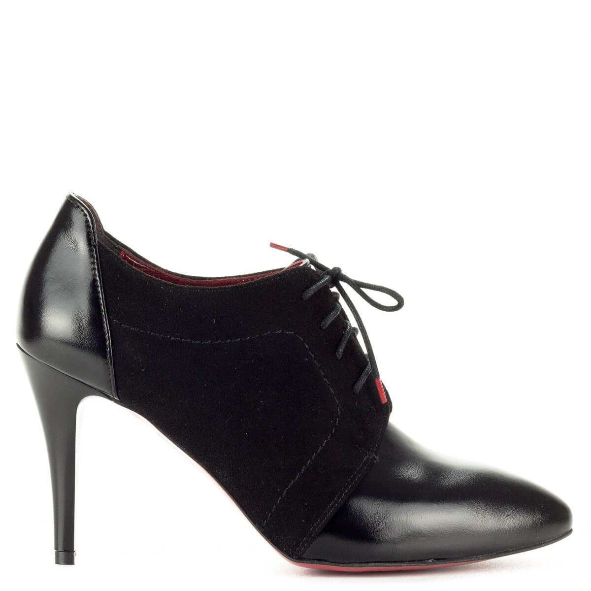 Sarka 9 cm  Luca Cavialli fekete fűzős magassarkú cipő bőr és velúr bőr  kombinálásával készült. 894312b45e