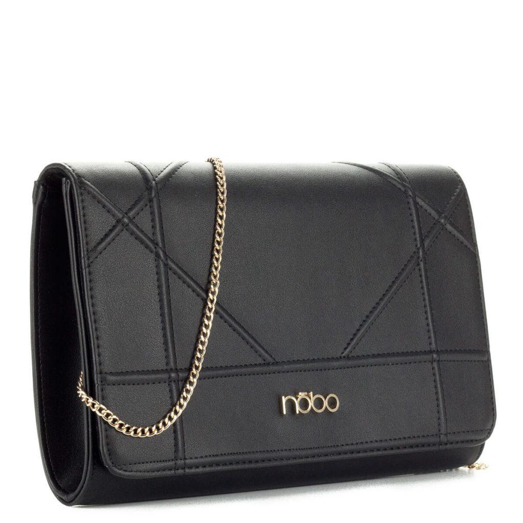 Nobo fekete női táska láncos vállpánttal. Belseje osztás nélküli. A pánt  levehető 8582f2cf53