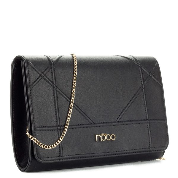 Nobo fekete női táska láncos vállpánttal. Belseje osztás nélküli. A pánt levehető, így borítéktáskaként hordható - ChiX Női Cipő- és Táska Webáruház