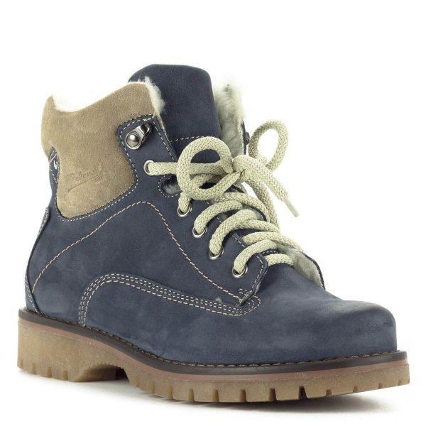 Kék Pollonus fűzős bőr bakancs bundás béléssel, vastag, ellenálló, recés gumi talppal. A fűzőnek köszönhetően tökéletesen igazodik a lábhoz.