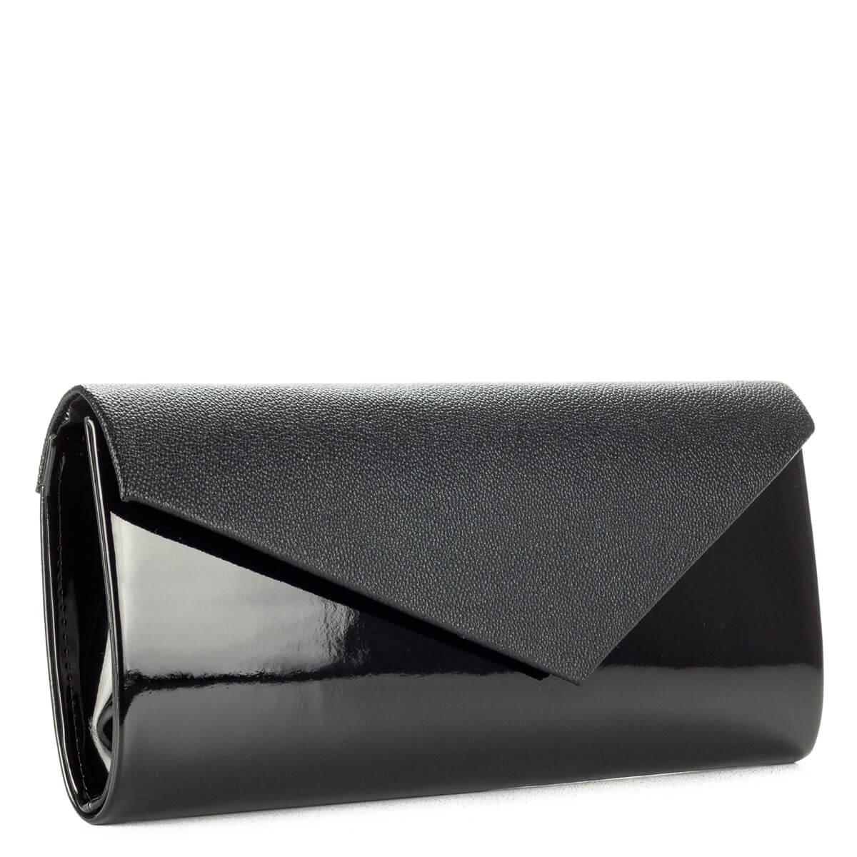 Prestige fekete női borítéktáska. Elegáns női alkalmi táska kombinált anyaggal, hosszú levehető vállpánttal. - ChiX Női Cipő- és Táska webáruház