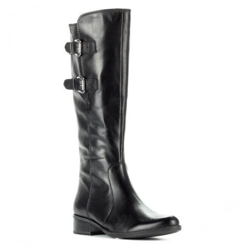 Fekete csatos Caprice bőr csizma gumi talppal, puha plüss béléssel. Klasszikus lovaglócsizma fazon 3 cm magas AntiShokk sarokkal. Szárhossz: 35 cm