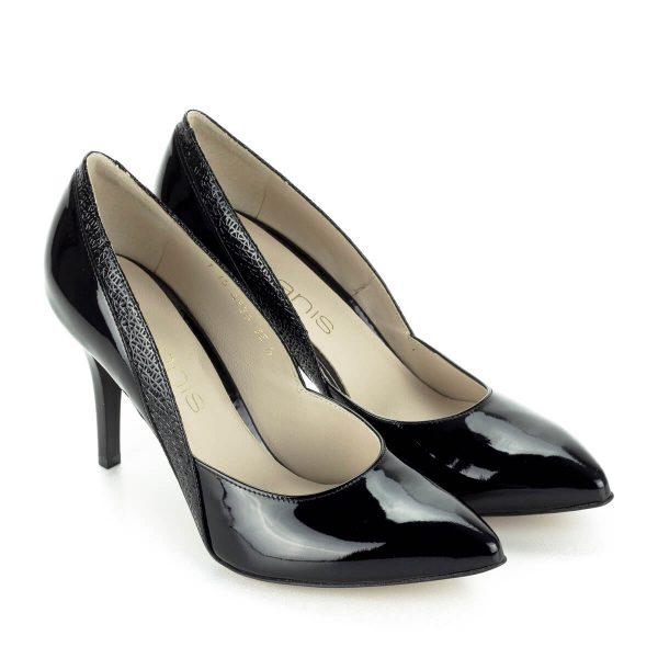 Anis alkalmi cipő nyomott mintával, fekete lakk bőrből Sarka 9 cm magas. Felsőrésze és bélése is bőr. - ChiX Női Cipő Webáruház