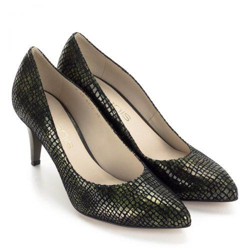 Anis zöld körömcipő mintás bőr felsőrésszel és bőr béléssel. Sarka 7,5 cm magas. Nagyon elegáns és kényelmes cipő. - ChiX.hu