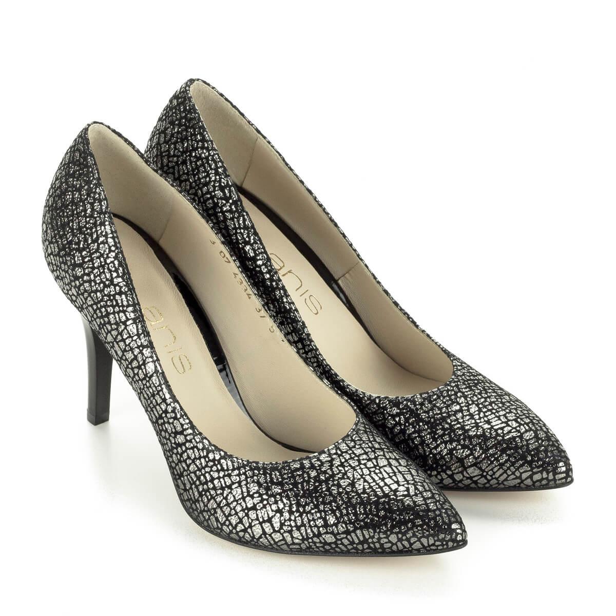 A körömcipő  Fekete-ezüst Anis cipő 9 cm-es sarokkal 180b28403e