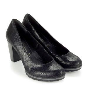 Magas sarkú Marco Tozzi cipő vastag recés gumi talppal, 7,5 cm magas AntiShokk sarokkal. Bőr felsőrésszel és memóriahabos talpbéléssel készült.